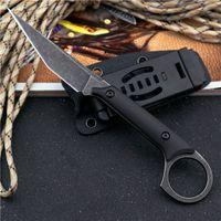 Couteau droite tactique de survie en plein air 440C Pierre Blade de lavage en pierre Full Tang G10 poignée de lames fixes couteaux avec kydex