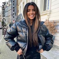 Winter Frauen Faux Leder Parkasjacke Warme Bubble Mantel Down Parka Puffer Jacken Outcoat Stehkragen Cropped Parka Mujer 2020
