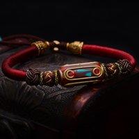 チベットの仏教の結び目のラッキーロープブレスレットレトロな青銅のマントラビーズ手編みを編む弦アンティークチベットジュエリーy1119