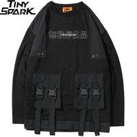 Harajuku البلوز البلوز الرجال الهيب هوب الشارع الشهير الصينية كانجي طباعة متعددة جيوب هوديي البلوز القطن الهيب هوب فضفاض T200103