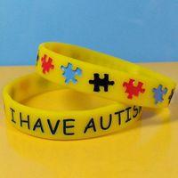 Nytt märke autism medvetenhet silikon armband gummi armband för gåvor barn vuxna tillbehör smycken gratis rn8068