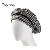 القبعات tupiyopi القطن knitti قبعة البيريه شعرت النمط البريطاني أزياء الفتيات سيدة الشتاء القبعات النساء