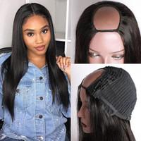 28 inç Straigth U Bölüm Peruk İnsan Saç Peruk Kadınlar Için ModernShow Brezilyalı Saç Tam Makinesi Peruk Boyalı ve İzin Verilebilir