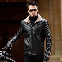 Новый мотоцикл куртка теплые зимние овчины мужская кожаная куртка мужчины досуг шубы мужская шерсть настоящая кожаная кожаная
