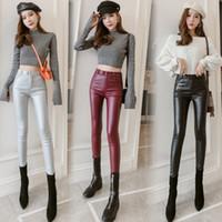2020 Nuevo diseño de la cintura alta de las mujeres de cintura de la PU de la túnica de bodycon de terciopelo, pantalones largos, pantalones de tamaño más, pantalones SMLXLXXL3XL