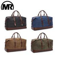 Markroyal Canvas Cuero Hombres Bolsas de viaje Llevar bolsas de equipaje Hombres Duffel Handbag Travel Tote Bolso de fin de semana grande Overnight1