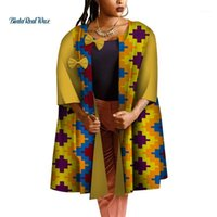 아프리카 트렌치 코트 여성용 옷 전통적인 아프리카 인쇄 워터 드롭 패치 디자인 활 트렌치 바센 의류 WY47191