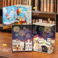 DIY 미니어처 인형 집 뜨거운 공기 풍선 목조 가구 dollhouse 어린이를위한 빛 장난감 생일 선물 미니 책 시리즈 201217