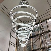 Luxury Large 1 / 2 / 3 / 4 / 5 / 6 / 7 / 8rings LED 라운드 크리스탈 샹들리에 가벼운 나선형 펜던트 램프 현대식기구 계단 디밍