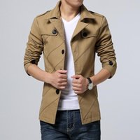 Casual Slim Men's Trench Coat Jacket Solid Single Breasted Autumn Winter Men's Jackets Fashion Pockets Windbreakers