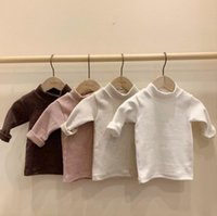 Spring and Autumn Baby T- shirts Base Shirt Baby Pure Color C...