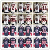 남자 뉴욕 레인저 빈티지 유니폼 99 Gretzky 11 Messier 68 Jagr 9 Graves 2 Leetch 35 Richter CCM Hockey Jerseys
