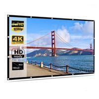 Écrans de projection portable HD Soft Projecteur Screen MAWHITE 16: 9 Tissu de film 60 72 84 92 100 120 150 pouces pour la maison Théâtre1