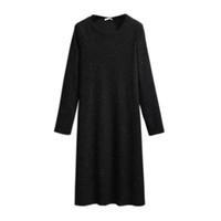 2021 frühling herbst plus größe pullover dress für frauen lose casual langarm gerade o neck strickkleider schwarz 4xl 5xl 6xl 7XL