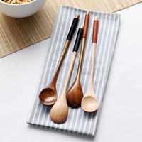 Conjunto ecológico de 6 mango largo cuchara de madera Café de café Cuchara de té de madera natural Postre de la cuchara de miel Accesorios de vajilla HHE2501