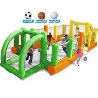 Aufblasbarer Fußballplatz im Freien Sport Spielplatz Garten Supply Soccer Basketball-Volleyballgerichte Großes Haushaltssportfeld für Familienspiel Homoseuse