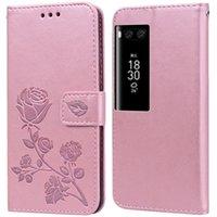 Lüks Deri Flip Kitap Stil Kılıf Meizu Pro 7 Artı Pro 7 M792H Gül Çiçek Cüzdan Standı Kart Tutucu Kılıf Telefon Çanta
