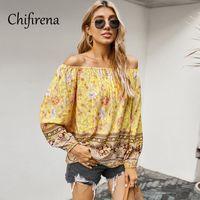 Chifirena vintage imprimé floral imprimé femme blouse 2020 printemps automne slash col de vacances tops de style bohème occasionnel doux blusas
