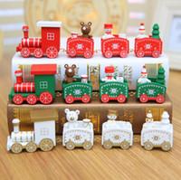Hölzerne Weihnachtszug Party Weihnachtsdekorationen für Home Weihnachten Kinder Spielzeug Geschenk Weihnachten Ornament Neues Jahr 2021 mit Kasten Freies Verschiffen
