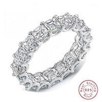 Choucong Marka Yeni Lüks Takı 925 Ayar Gümüş Tam Prenses Kesim Beyaz Topaz CZ Elmas Kadınlar Düğün Band Yüzük Hediye1