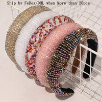 Crystal Hair Hoops Bande di capelli di lusso lucido imbottito Diamond Fascia da donna Headwear Wedding Headdress Boutique Girls Accessori per capelli DW5881