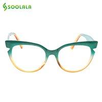 SOOLALA القط العين القراءة نظارات المرأة الأزياء ضرب لون النظارات الإطار رديسوبيا نظارات القراءة cateye +0.5 إلى 4.0 201102