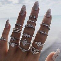 15.PCs Bohemia Band Ring Ny Mönster Retro Fashion Plated Silver Crystal Kvinnor Ringar Ornaments Bröllop Europa och Amerika