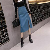 Женщины Новый 2021 осень зима юбка-карандаш высокой талией Сплошной цвет Тонкий Юбка Женский Повседневный плотный пакет Hip Шаг A288