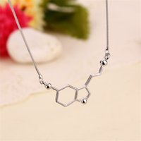 Dopamin Molekül Kolye Kimyasal Yapısı Bilim Zincir Erkekler Kadınlar Gümüş Kaplama Kolyeler Çokgen Takı Moda 2 2zja L2