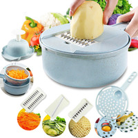 ADOREHOUSE 3In1 Manual Vegetable Cutter Round Mandoline Slicer Potato Carrot Grater Slicer Stainless Steel Chopper Kitchen Tools Y1204