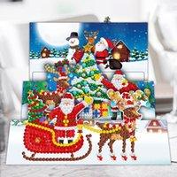 8 قطع خاص شكل الماس اللوحة diy بطاقات المعايدة جزء عبر الابره الحفر عيد الميلاد الرسم متمنيا البطاقات البريدية