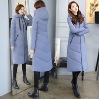 Women X-long Hooded Bakery Oversize Winter Down Coat Student Thick Warm Jacket Cotton Padded Wadded Parkas Big Pocket 201119