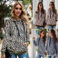 Femmes Automne Sweat à capuche Streetwear hiver Hiver Chaud Teddy manteau léopard Sweats à capuche Lady Lycra Pull Sweat-shirt Sherpa Tops Fashion1