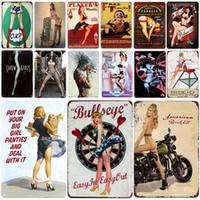 2021 Sexy Girls Plaque Vintage Tin Signe Pin Up Shabby Chic Decor Metal Vintage Bar Decoration Lady Garage Poster mural Pub Accueil Artisanat Décor
