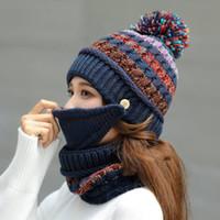 Kış kadın sıcak tutmak sıcak yün şapka açık spor rüzgar geçirmez örme şapka soğuk geçirmez kulak koruma kapak eşarp 3 adet set parti şapkalar cca2734