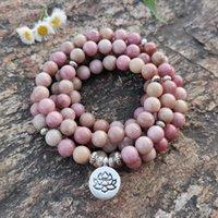 108 Beads Mala Lotus Bracelet 8MM Rhodonite Beads Bracelet For Women Meditation Yoga Jewelry Drop Ship Y1119