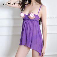 Women's Sleepwear Yufeida Lingerie Femme Sexy Seins Ouvert Babydoll Dentelle Nightgowns Robe Robe SleepShirts Nightwear Sleepwear Sleepwear + G-Stri