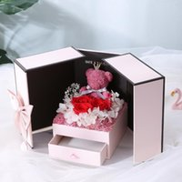 2021 Valentine' s Day gift teddy bear rose two door gift...
