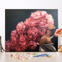 Pittura di numeri Donna Flower Photo Personalizzato Fai da te Pittura ad olio per numero Disegno Canvas Vernice Art Pictures Home Decor1