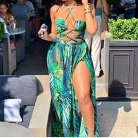 2021 Nuova stampa foglie verdi in chiffon spiaggia abito lungo donne sexy halter high spaccata bikini costume da bagno costume da bagno costume da bagno rivestimento vestito