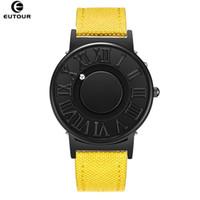 Eutour relógio homem telas de couro cinta mens relógios mostra de bola magnética relógios de quartzo moda relógio masculino relógio relógio de pulso 201209