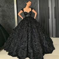 블랙 댄스 파티 드레스 2021 3D 장미 꽃 스커트 드레스 파티 가운 스팽글 레이스 탑 특별 행사 드레스 두바이 2K21Black 소녀 커플 하루