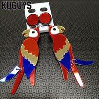 Moda Kolor Biżuteria Papuga Spadek Kolczyk Dla Kobiet Lustro Akrylowe 8 CM Duże Dangle Kolczyki