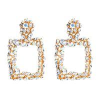 Europe et Amérique Grande exagération Multicolore Diamonds Géométriques carrées carrées Rétro boucles d'oreilles de la mode Bohemian bijoux