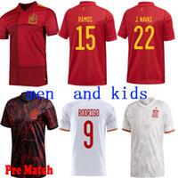 Новый дом Espagne Jersey Loin de Football Maillot 2021 PACO Alcácer Asensio Morata Citp Iniesta Men and Kids Home Youse Рубашка спортивный футбол