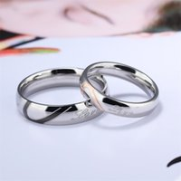 티타늄 강철 반지 쥬얼리 라운드 커플 하프 하트 레터링 사랑 여자 남자 반지 결혼식 발렌타인 데이 일 현재 3 39SB K2