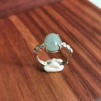 Joyería de estilo chino Burma Jade Bubble Ring 925 Silver Zircon Anillo Light Green Luxury Mother Regalo