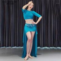 Etapa Wear Women Belly Dance Practica Disfraz 2 unids Conjunto Modal Top Falda larga Ropa Sexy Ropa Sexy Trajes de Bella Oriental Desgaste de rendimiento1