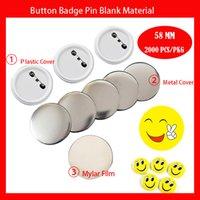 58mm 2000 unids Botón en blanco Botón Pines Materia prima Pines Button Butter Supplies Piezas de insignia Botón Botón Componentes en blanco 58mm