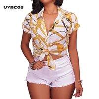 UVRCOS Bayan Üstleri ve Bluzlar Yaz Rahat Kısa Kollu Zincir Baskı Bluz Gömlek Zarif Bayanlar Tops W1231
